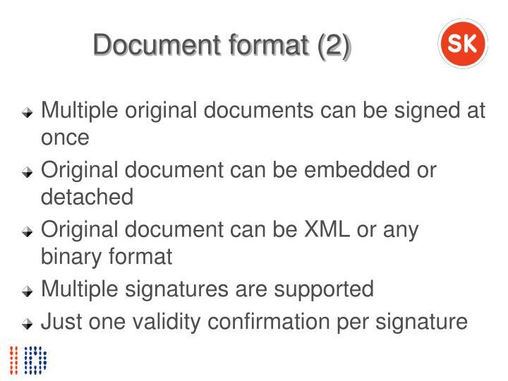 Document format (2)