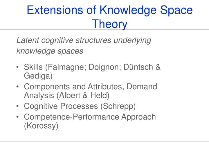 Extensions of Knowledge Space Theory