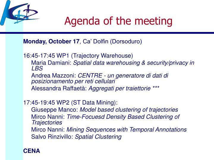 Agenda of the meeting