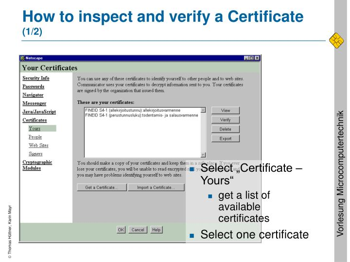 How to inspect and verify a Certificate