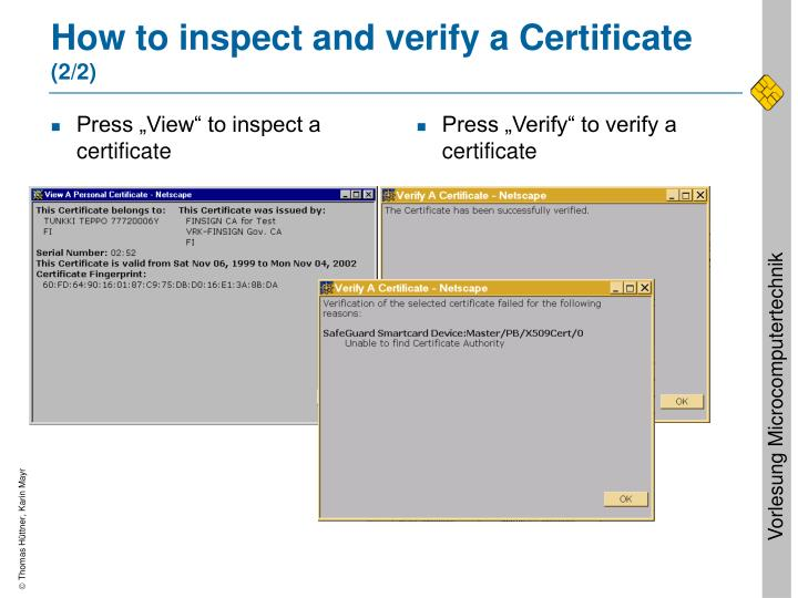 """Press """"View"""" to inspect a certificate"""