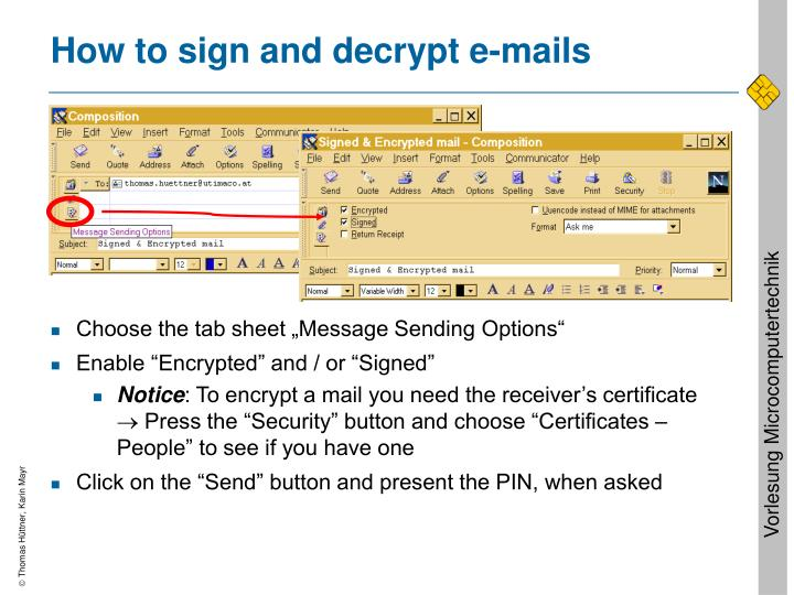 How to sign and decrypt e-mails