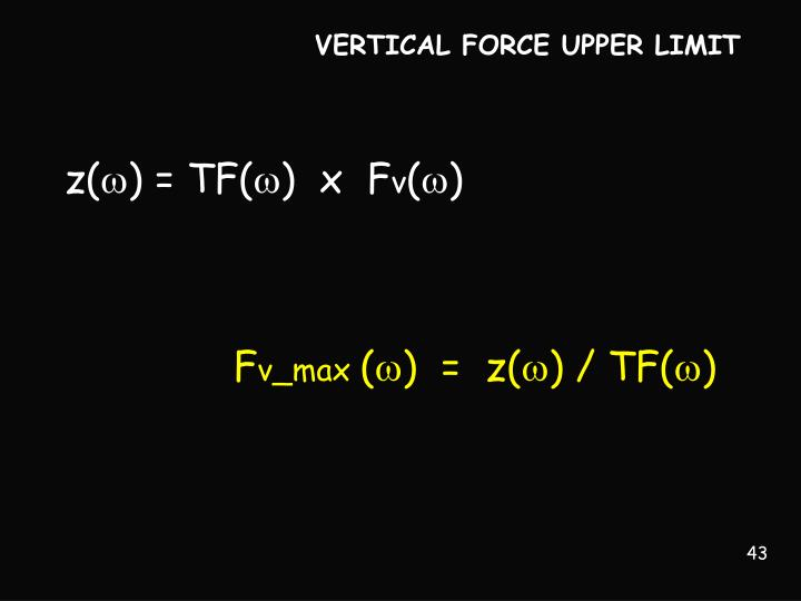 VERTICAL FORCE UPPER LIMIT