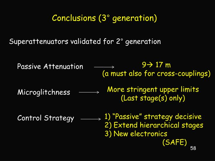 Conclusions (3° generation)