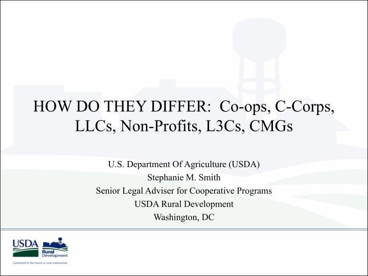 HOW DO THEY DIFFER:  Co-ops, C-Corps, LLCs, Non-Profits, L3Cs, CMGs