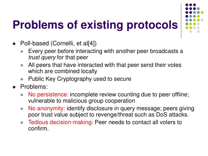 Problems of existing protocols