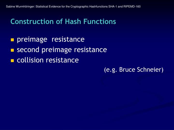 Construction of hash functions