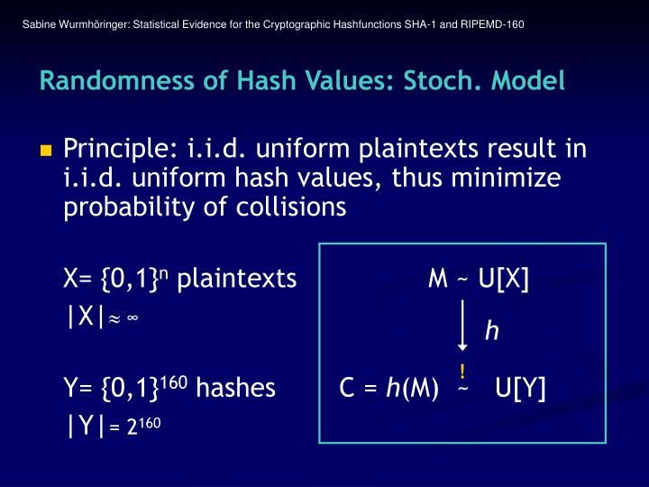 Sabine Wurmhöringer: Statistical Evidence for the Cryptographic Hashfunctions SHA-1 and RIPEMD-160