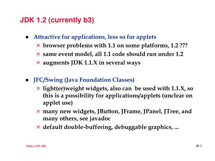 Jdk 1 2 currently b3