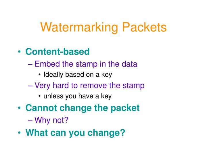 Watermarking Packets
