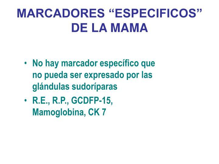 """MARCADORES """"ESPECIFICOS"""" DE LA MAMA"""
