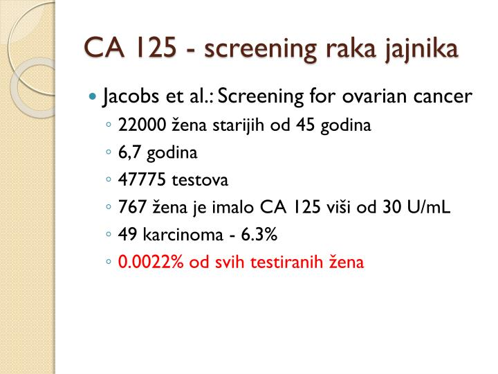 CA 125 - screening