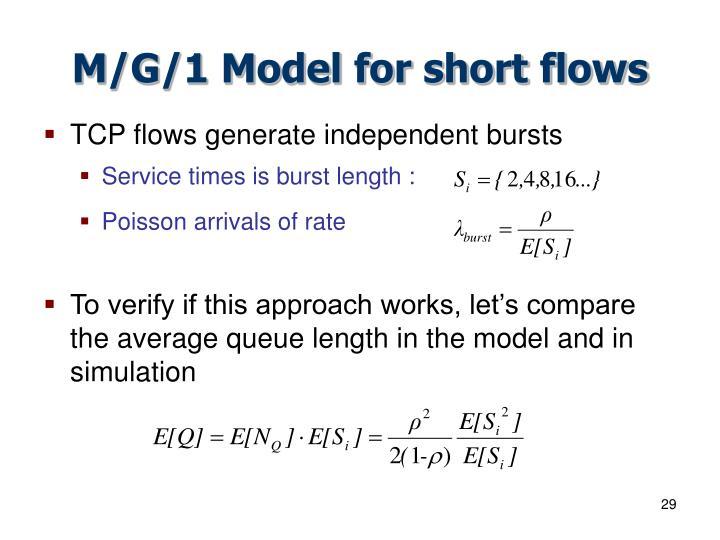 M/G/1 Model for short flows