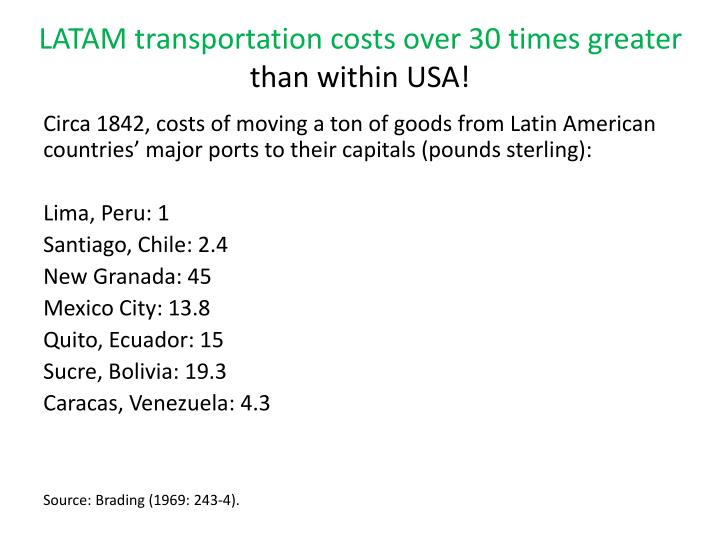 LATAM transportation costs over 30 times greater