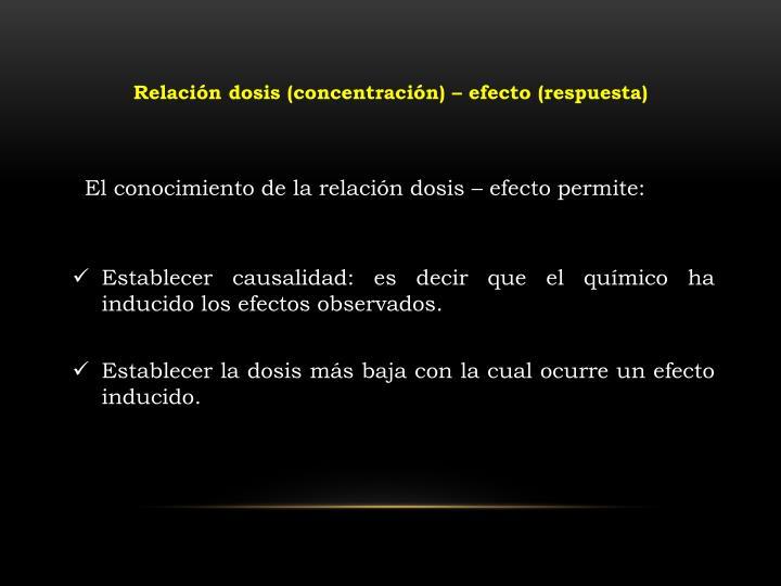 Relación dosis (concentración) – efecto (respuesta)