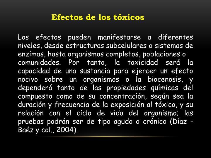 Efectos de los tóxicos