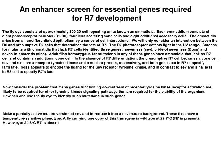 An enhancer screen for essential genes required
