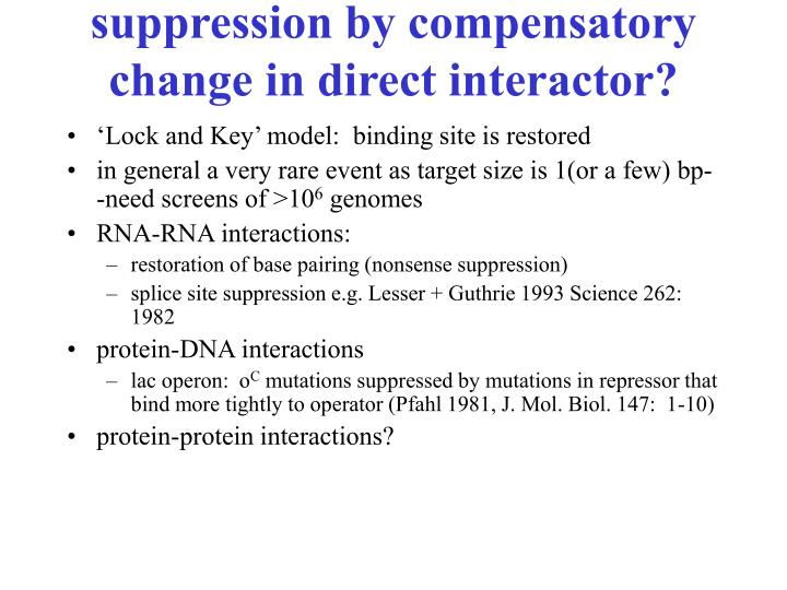 suppression by compensatory change in direct interactor?