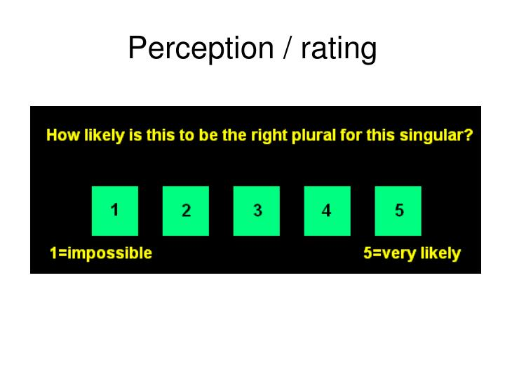 Perception / rating