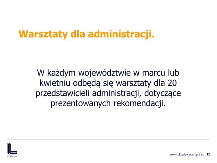Warsztaty dla administracji.
