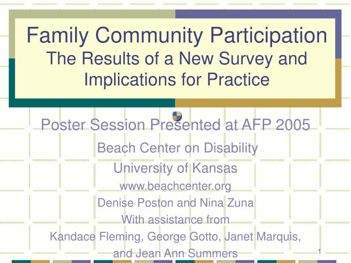 Family community participation the results of a new survey and implications for practice