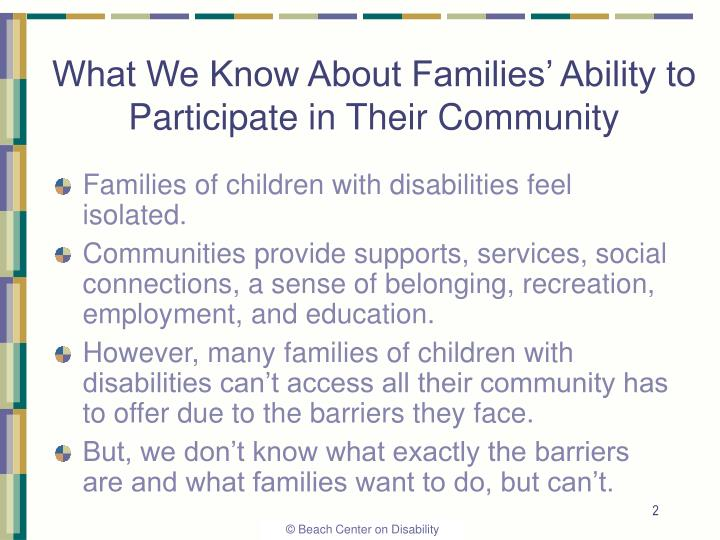 What we know about families ability to participate in their community