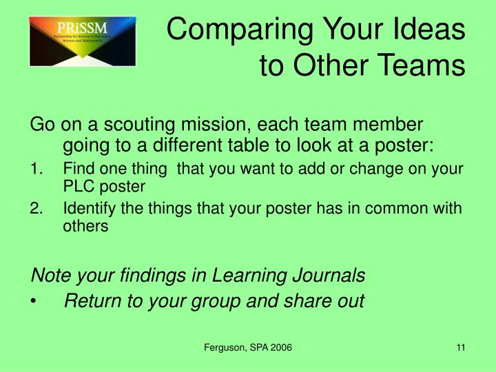 Comparing Your Ideas to Other Teams