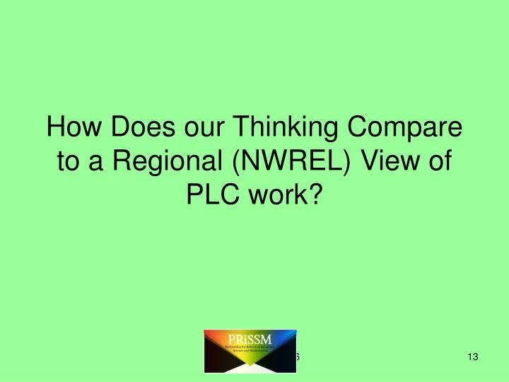 How Does our Thinking Compare to a Regional (NWREL) View of PLC work?