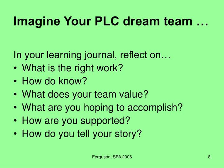 Imagine Your PLC dream team …