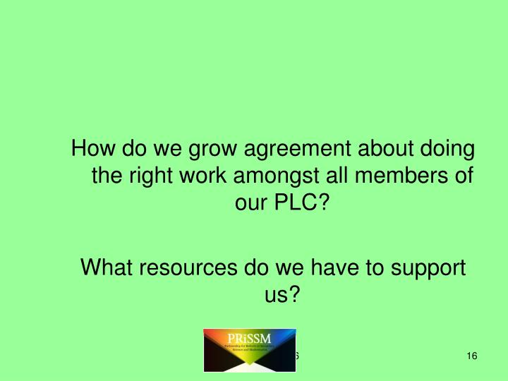 How do we grow agreement about doing the right work amongst all members of our PLC?