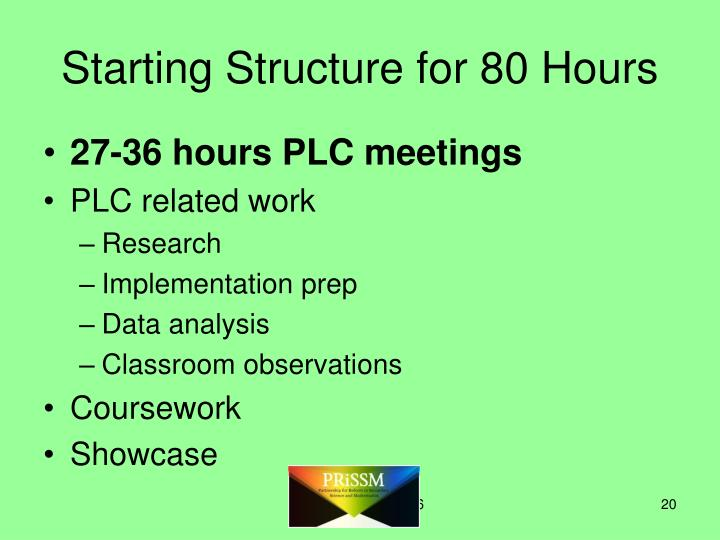 Starting Structure for 80 Hours