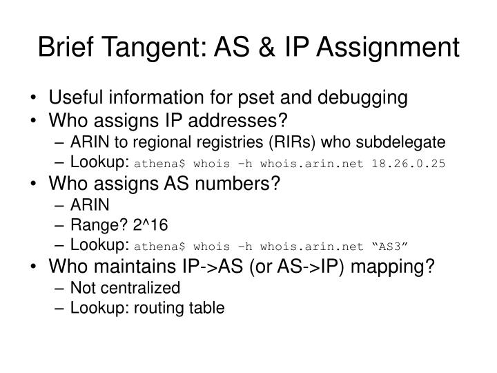 Brief Tangent: AS & IP Assignment