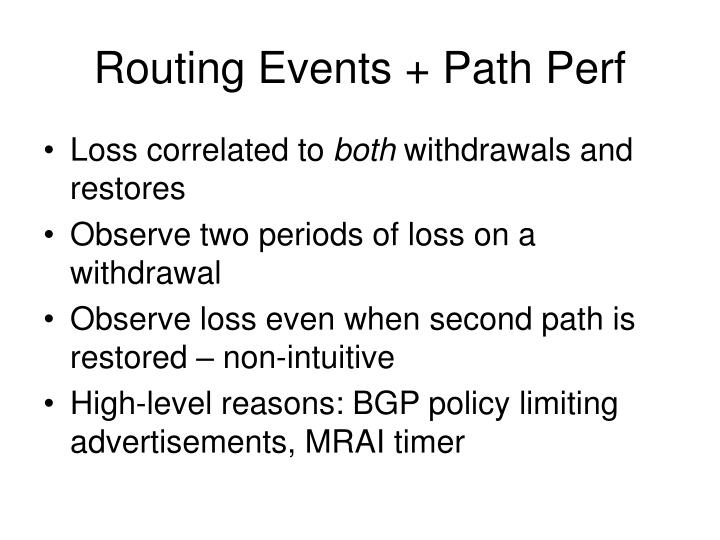 Routing Events + Path Perf