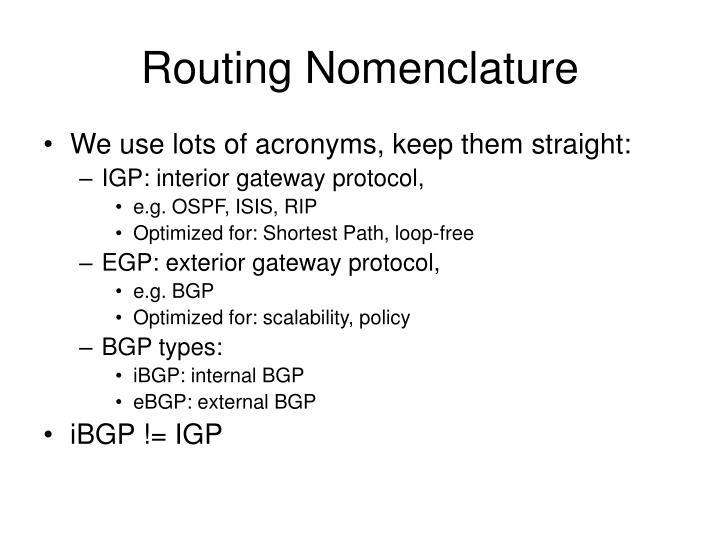 Routing Nomenclature