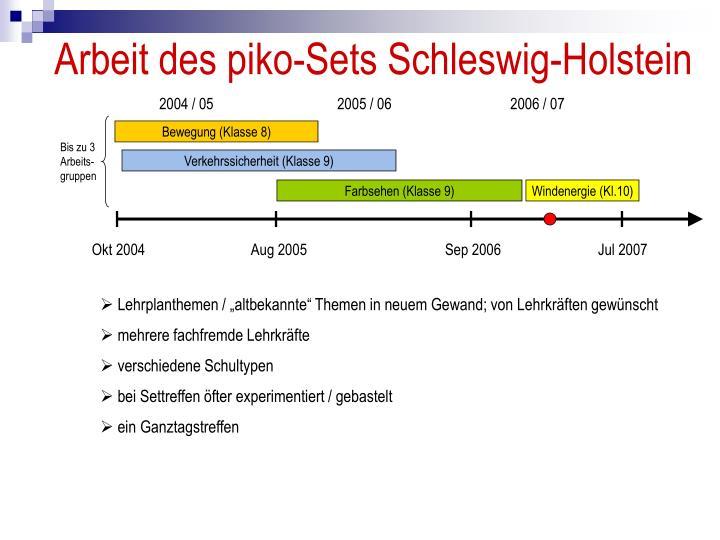 Arbeit des piko-Sets Schleswig-Holstein