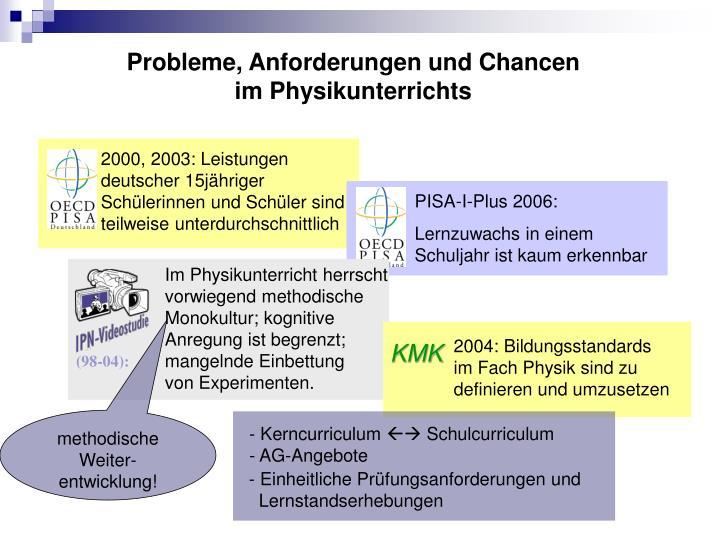 2000, 2003: Leistungen deutscher 15jähriger Schülerinnen und Schüler sind teilweise unterdurchschnittlich