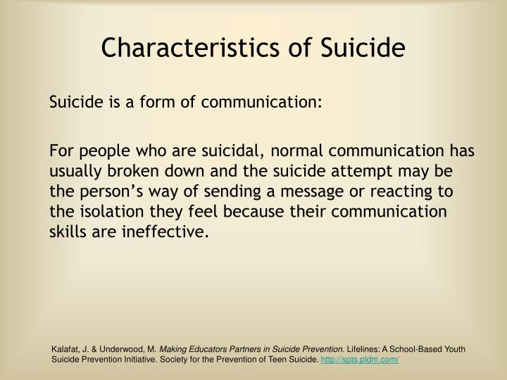 Characteristics of Suicide