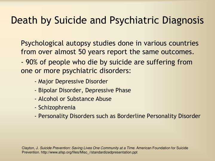 Death by Suicide and Psychiatric Diagnosis