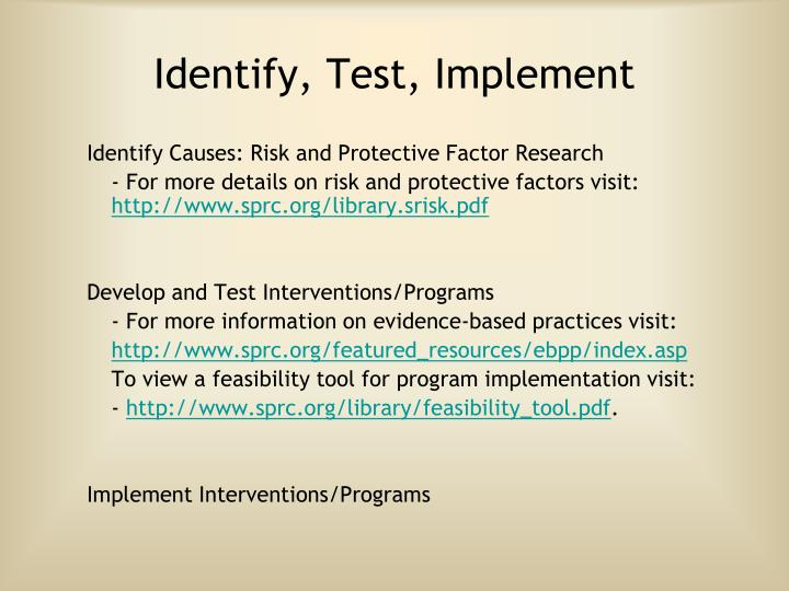 Identify, Test, Implement