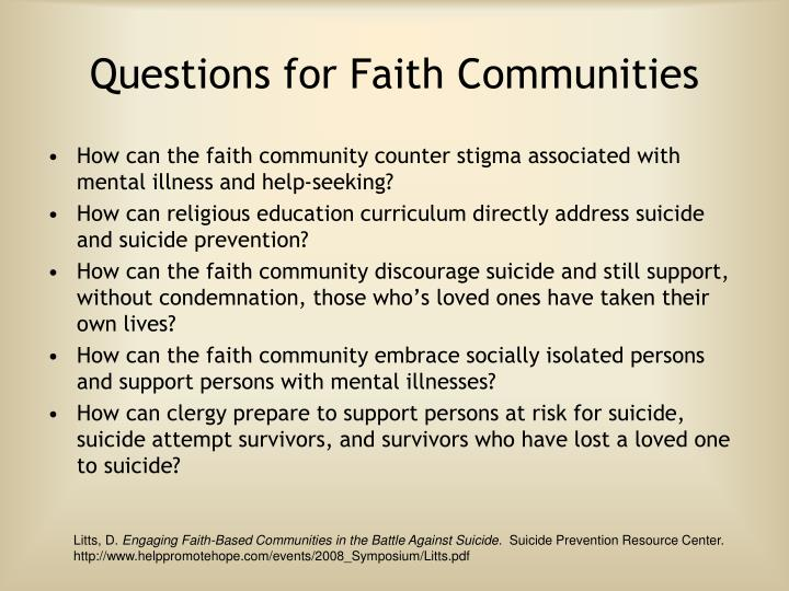 Questions for Faith Communities