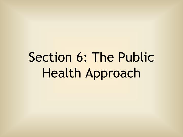 Section 6: The Public Health Approach