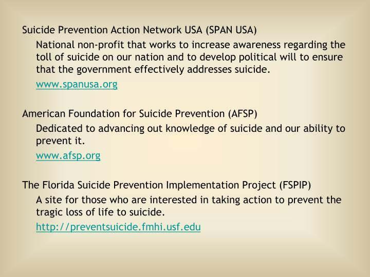 Suicide Prevention Action Network USA (SPAN USA)
