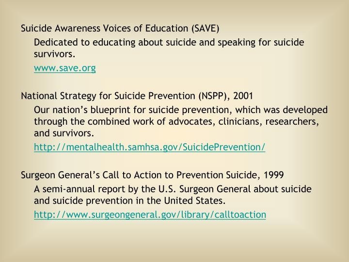 Suicide Awareness Voices of Education (SAVE)