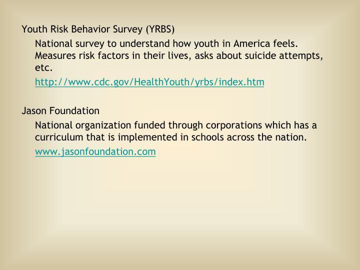Youth Risk Behavior Survey (YRBS)