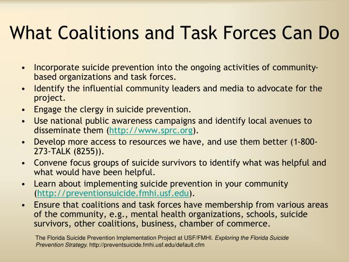 What Coalitions and Task Forces Can Do