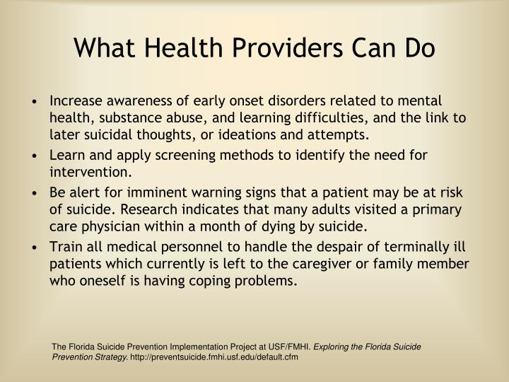 What Health Providers Can Do