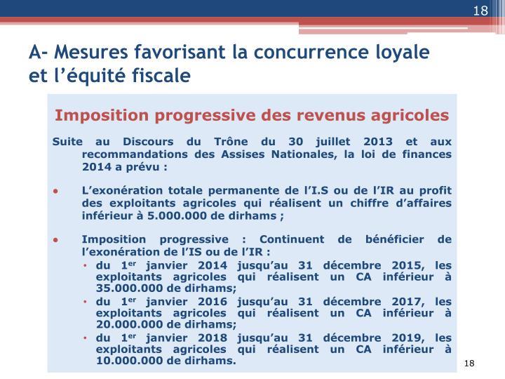 A- Mesures favorisant la concurrence loyale et l'équité fiscale
