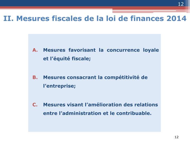 Mesures favorisant la concurrence loyale et l'équité fiscale;