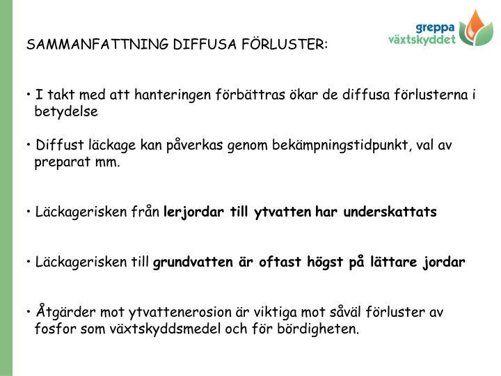 SAMMANFATTNING DIFFUSA FÖRLUSTER: