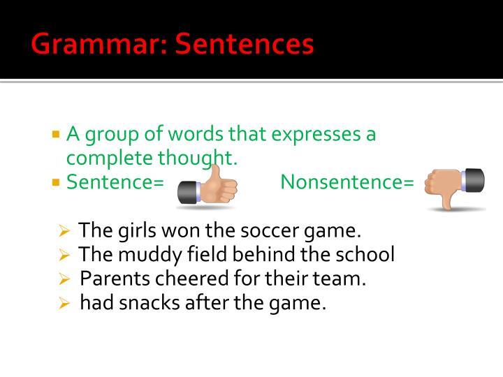 Grammar: Sentences